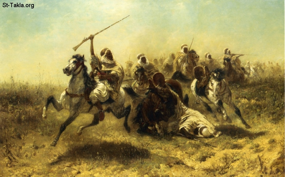 St-Takla.org         Image: The Charge, painting by Adolf Schreyer (1828–1899) صورة: الهجوم، رسم الفنان أدولف شرير (1828-1899)