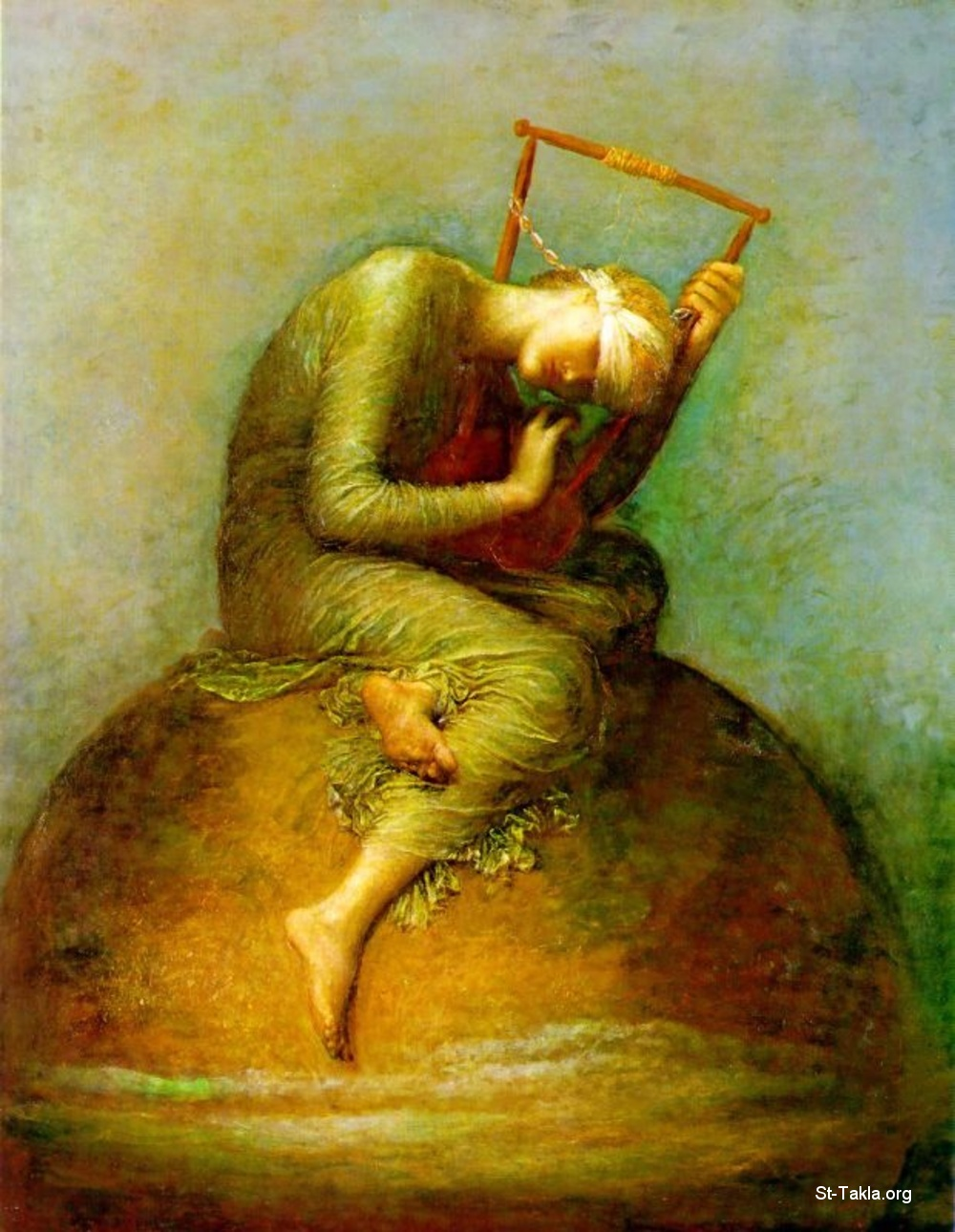 "St-Takla.org Image: Hope, Symbolist oil painting by George Frederic Watts, 1886, 144.2 x 111.8 cm, Tate National Gallery, London - shows a female allegorical figure of Hope, sitting on a globe, blindfold, clutching a wooden lyre with only one string left intact. She sits in a hunched position, with her head leaning towards the instrument, perhaps so she can hear the faint music she can make with the sole remaining string ���� �� ���� ������ ����: ���� ����� �� ���� ������ ��� ������ ���� ������� ���ӡ 1886� ����� 144.2�111.8 �� ������ �� ���� ���� ���� ������ (����� ������� ������)� ���� - ������� ��� ���� �� ������ ���� ""�����""� ����� ��� ��� ����ɡ ����� ������� ����� �� ������ ����ɡ ��� ��� ���� ���� ������ ����� ������ ��� ������ ������ ����� ���� ����� ��������ɡ ���� ����� ����� ������ ���� ������ ���� �� ���� ����� ������ �������"