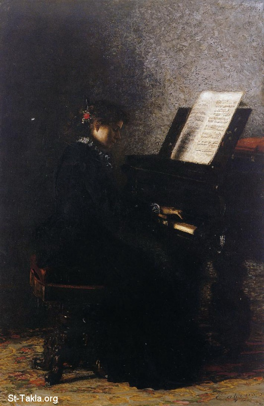 St-Takla.org Image: Thomas Eakins (1844-1916) - Elizabeth at the Piano ���� �� ���� ������ ����: ������ ����� �������: 1844-1916: �������� ����� ��� �������