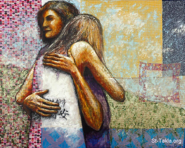 St-Takla.org         Image: Two women hugging in forgiveness, care with loving, painting ����: ���� ������� ������� ������ ����� �� ������ � ������ �����