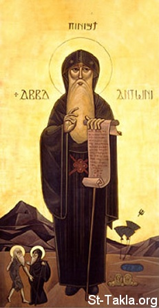 St-Takla.org Image: Saint Anthony the Great, First Monk, modern Coptic art icon ���� �� ���� ������ ����: ������ ������ �������� �� ������� - ������ ����� �����