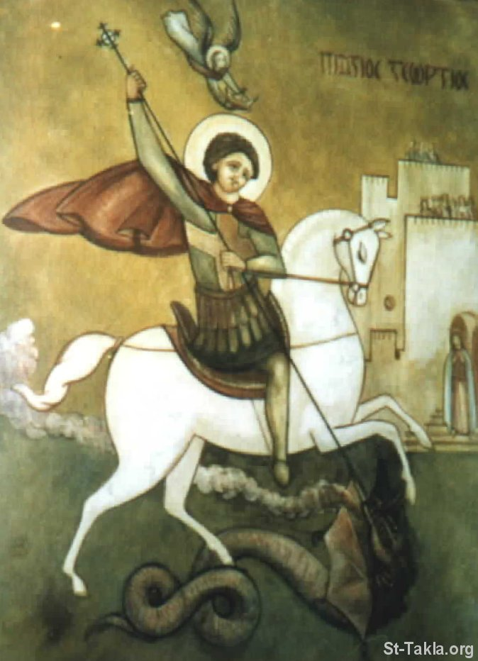 St-Takla.org Image: Modern Coptic icon of Saint George Roman Martyr ���� �� ���� ������ ����: ������ ����� ����� ���� ������ ������� ������ ��������