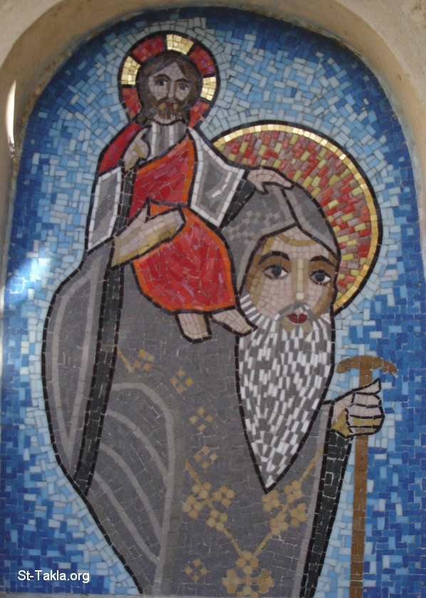 St-Takla.org         Image: Saint Bishoy carrying Jesus Christ, Mosaic at St. Pishoy Monastery, El Natroun Valley, Egypt ����: ������� ����� ���� ������ ����� ���� �����͡ �� ��� ������ ����� ����� ������� ���