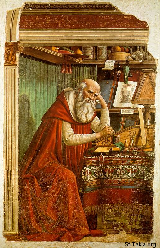 St-Takla.org         Image: Domenico Ghirlandaio - Saint Jerome in his Study (1480 � Church of Ognissanti, Florence) ����: ������ ����� �� ������ ��������� �� ������� ������ �������� ���������� 1480� ����� ���������� ��������
