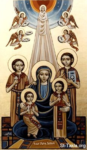 St-Takla.org Image: Icon of Saint Mother Dolagy (Doulagy) and Her four Children the Martyrs ���� �� ���� ������ ����: ������ ������� ���� ������ �������� ������� �������
