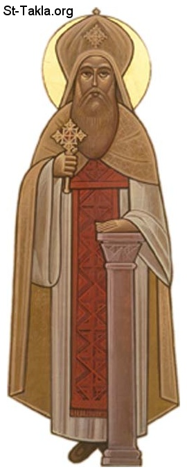 St-Takla.org Image: Saint Cyril the Great Coptic Pope of Alexandria - Pope Kirellos El Kabir صورة في موقع الأنبا تكلا: أيقونة قبطية، البابا القديس كيرلس الكبير، عمود الدين بابا الإسكندرية