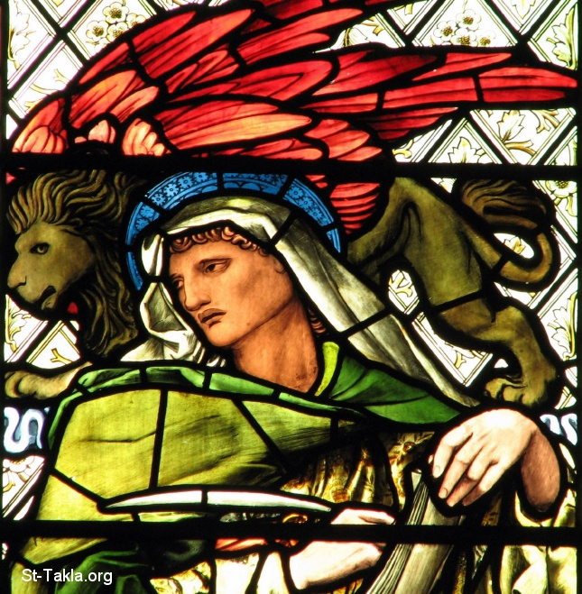 St-Takla.org         Image: Saint Makos the Evangelist with the Lion, stained glass window, designed by Burne Jones, made by Morris and Company, chapel of Manchester College, Oxford, England ����: ���� ���� ���� ������ ���� ������ ����� ���� ���ӡ �� ��� ����� ������ �� ����� ���� �����ѡ ������ϡ �������