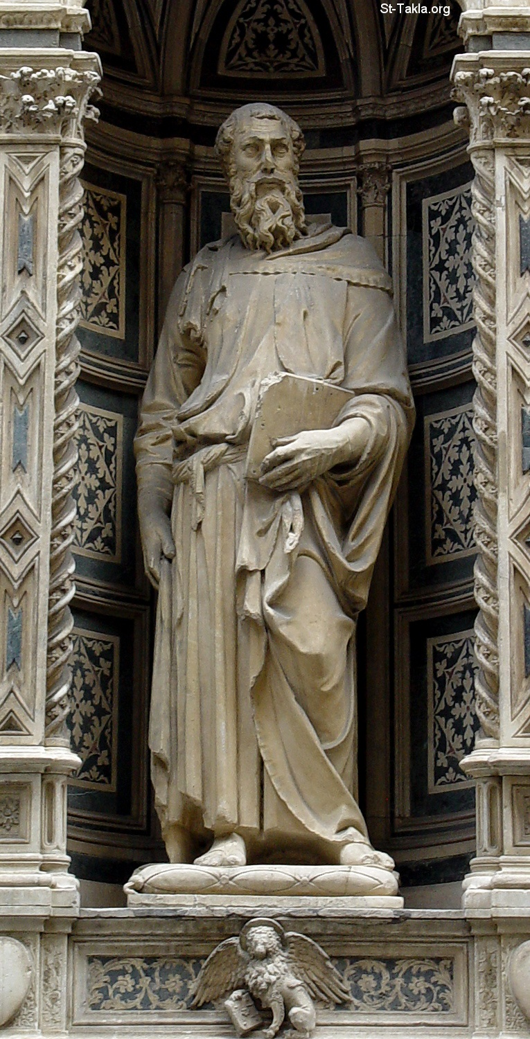 St-Takla.org         Image: St Mark, marble statue (236 cm) by Donatello (Donato di Niccolò di Betto Bardi) (1411-13), Orsanmichele Church, Florence ����: ����� ����� ��� (236 ��) ��� ������ �������� (������ �� ������ �� ���� �����) ��� 1411-13 ���� ������ ���� ������ �� ����� ������ ����� �������