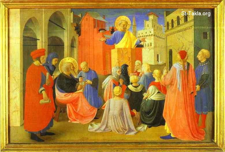 "St-Takla.org         Image: Fra Angelico. Linaiuoli Tabernacle - Peter Preaching with Mark. Predella. 1433. Tempera on panel. 39 x 56 cm. Museo di San Marco, Florence, Italy ����: ���� ������ �������� ��� �������� �� ���� ������ �������� - ���� ������ ��� �� ������ ���ӡ ������ǡ ��� 1433� ����� ""������"" ��� ���� ����� 39�56 �� ���� ������ӡ �����ӡ �������"