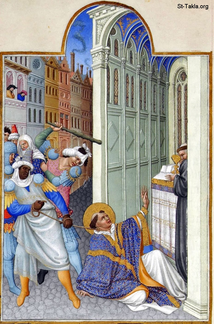 St-Takla.org         Image: of the painting 'The martyrdom of Saint Mark', by Les Très Riches Heures du duc de Berry (The Very Rich Hours of the Duke of Berry), Musée Condé, Chantilly, France صورة: لوحة شهادة مارمرقس القديس، من كتاب صلوات ساعات دوق بيري الفنية، متحف كونديه، شانتيلي، فرنسا