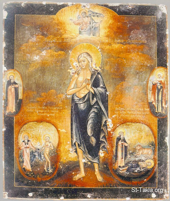 St-Takla.org         Image: An ancient icon of Saint Mary of Egypt (St. Mariam El Kepteya, El Masreya) ����: ������ ����� ���� ������� ���� ������� �������
