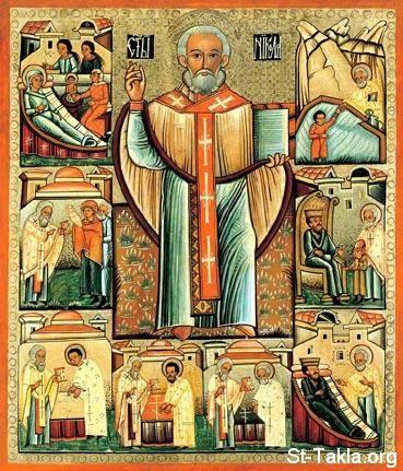 St-Takla.org Image: Saint Nicholas - Eastern Orthodox icon صورة في موقع الأنبا تكلا: أيقونة لأنبا نيقولاوس أسقف ميرا