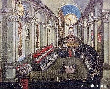 St-Takla.org Image: The Council of Trent in Santa Maria Maggiore church; Museo Diocesiano Tridentino, Trento صورة في موقع الأنبا تكلا: مجمع ترنت في كنيسة سانتا ماريا ماجيور، موجودة في متحف ديوسيانو تريدنتينو، ترينتو