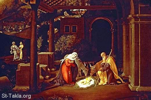 St-Takla.org Image: Jesus in the manger, painting ���� �� ���� ������ ����: ���� ���� �� ������