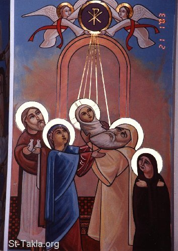 St-Takla.org Image: Modern Coptic icon of the Presentation of Jesus into the Temple dans immagini sacre www-St-Takla-org__Saint-Mary_Presentation-of-Jesus-in-Temple-01