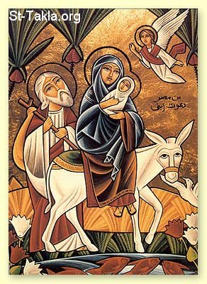 St-Takla.org Image: Modern Coptic icon depicting the Holy Family going to Egypt ���� �� ���� ������ ����: ������ ����� ����� ���� ������� ������� �� ������ ��� ��� ���