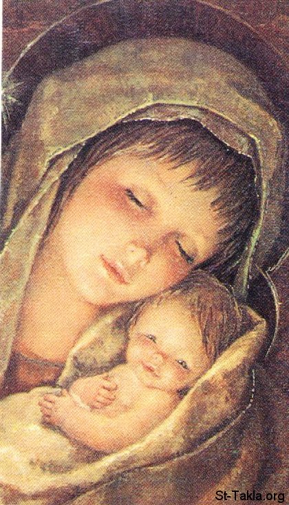 St-Takla.org Image: Saint Mother Mary with baby Jesus, Immanuel, Emmanuel ���� �� ���� ������ ����: ���� ���� ������� �� ����� �������� ����
