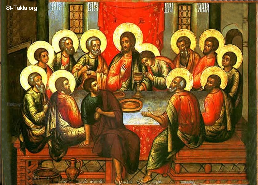 St-Takla.org         Image: The Last Supper icon, by Simon Ushakov, 1685 ����: ������ ������ ������ - ��� ������ ����� ������ݡ 1685